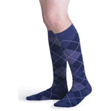 Sigvaris Microfiber Patterns Men's 20-30 mmHg Knee High, Purple Argyle