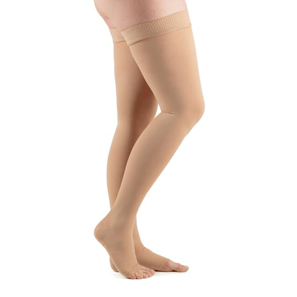 Actifi 20-30 Surgical Opaque Thigh High Open Toe Stockings, Beige