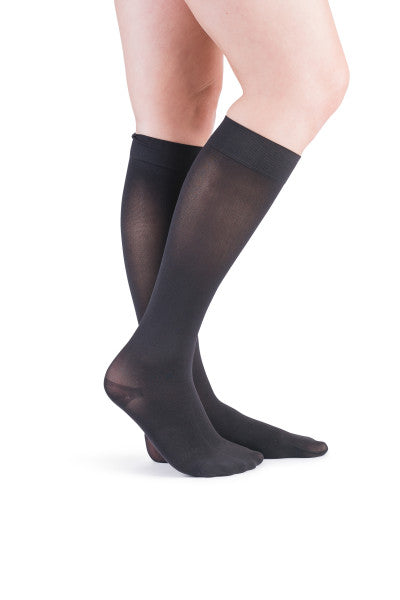 VenActive Women's Premium Opaque 15-20 mmHg Knee Highs, Black, Main