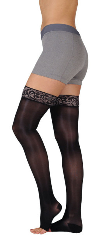 Juzo Women's Naturally Sheer 15-20 mmHg OPEN TOE Thigh High w/ Silicone Top Band