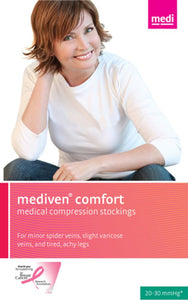 Mediven Comfort 20-30 mmHg OPEN TOE Thigh High w/ Lace Silicone Top Band