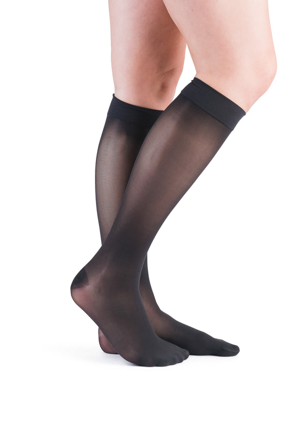 VenActive Women's Premium Sheer 15-20 mmHg Knee Highs, Black, Main
