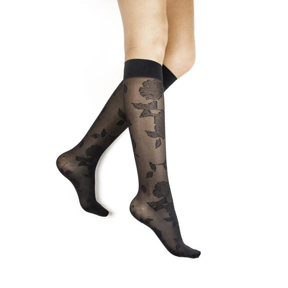 Rejuva Sheer Floral Women's 15-20 mmHg Knee High