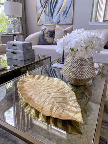 Large Gold Metal Leaf Tray-Inspire Me! Home Decor
