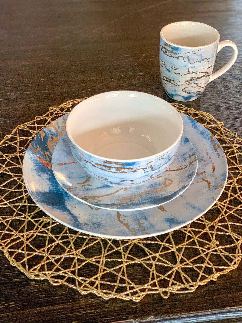 Blue and Gold Metallic Dinnerware Set