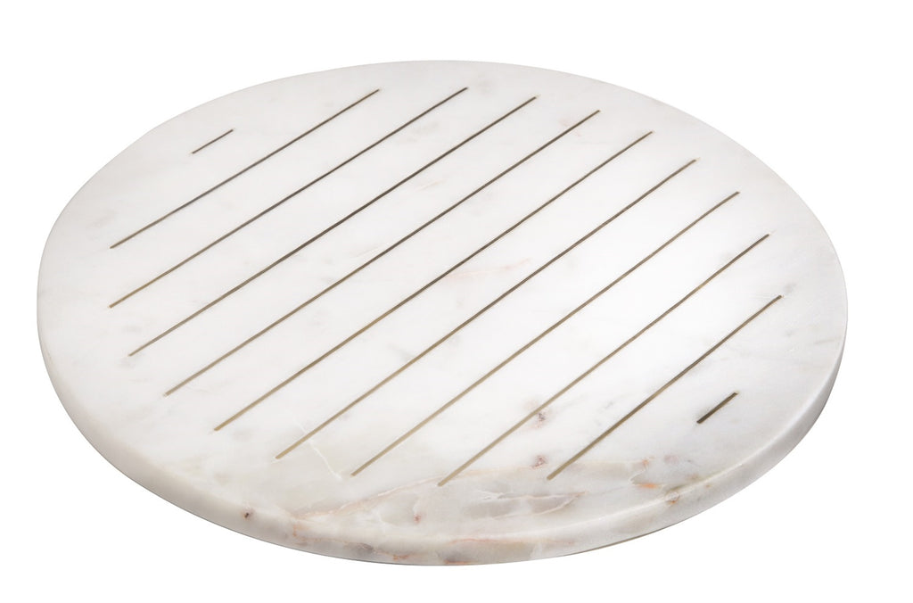 Round Marble Tray with Gold Line Details-Inspire Me! Home Decor