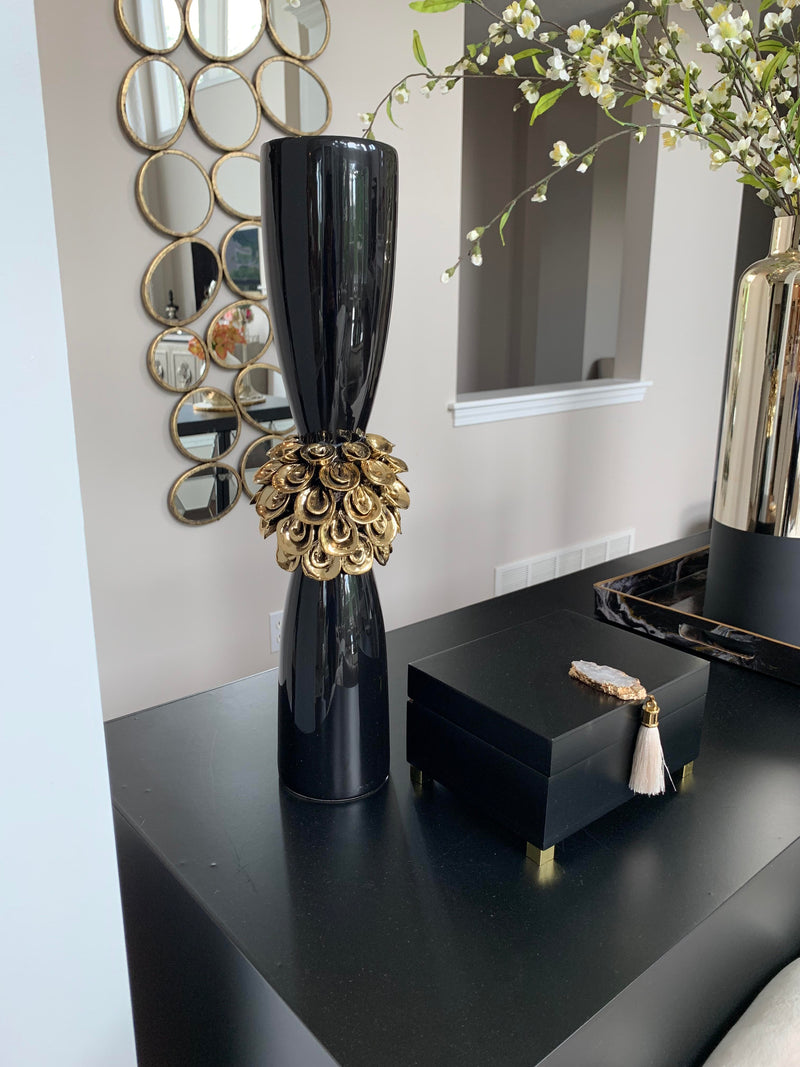 Ceramic Black & Gold Floral Vase - ( 2 Sizes )