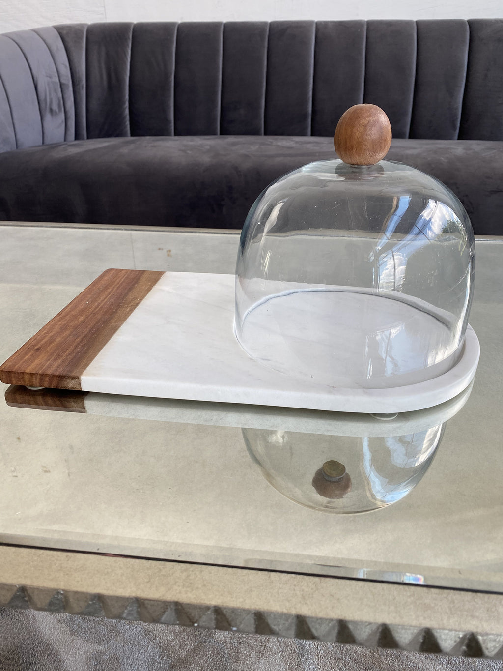 Marble and Wood Cake Plate with Glass Dome-Inspire Me! Home Decor