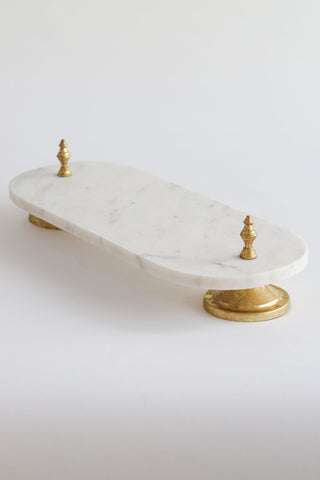 Marble Pedestal Tray w/ Gold Legs-Inspire Me! Home Decor