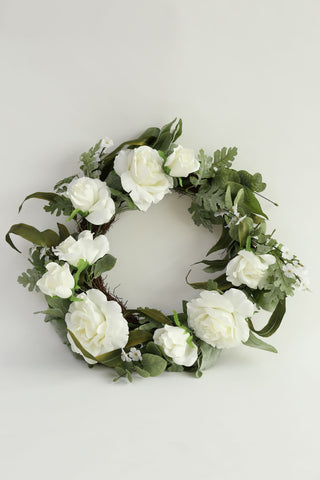 White Rose and Eucalyptus Wreath-Inspire Me! Home Decor