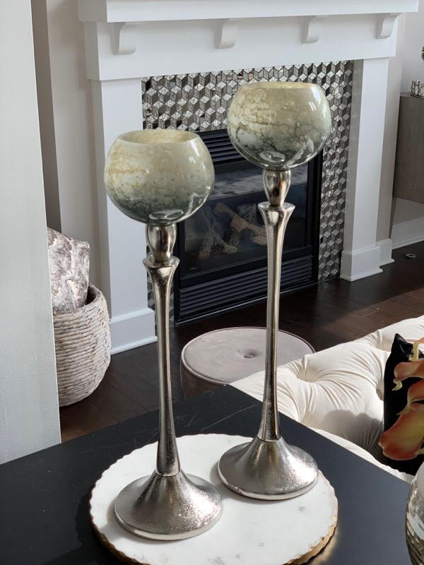 (2 Sizes) Goblet Votive Holder on Aluminum Stand