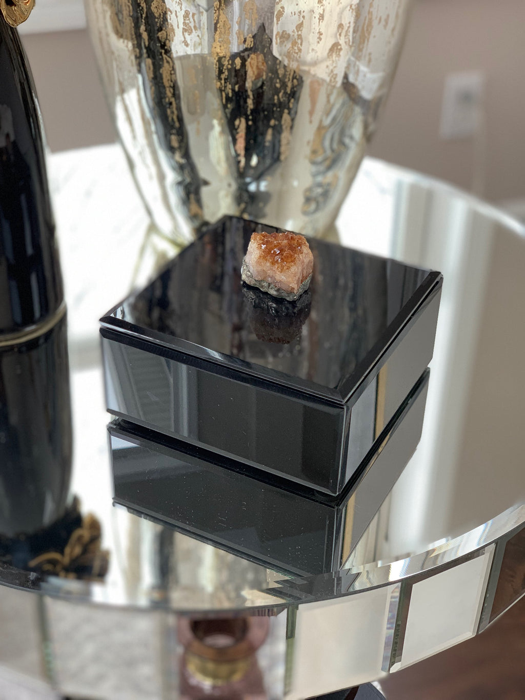 Black Wood Decorative Box with Agate Stone