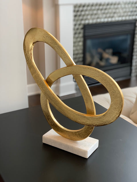 Metal Sculpture with Marble Base