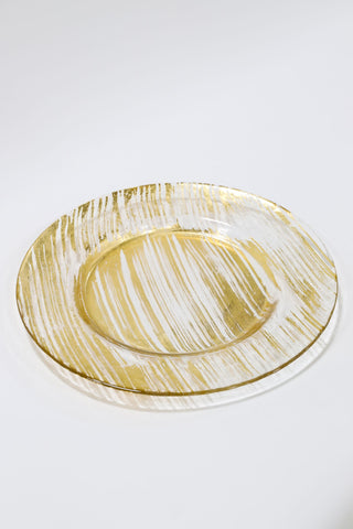 Gold Brush Glass Charger-Inspire Me! Home Decor
