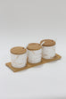 (Set of 3) Metallic Gold Marble Print Spice Jars with Spoons and Wooden Lid With Tray-Inspire Me! Home Decor