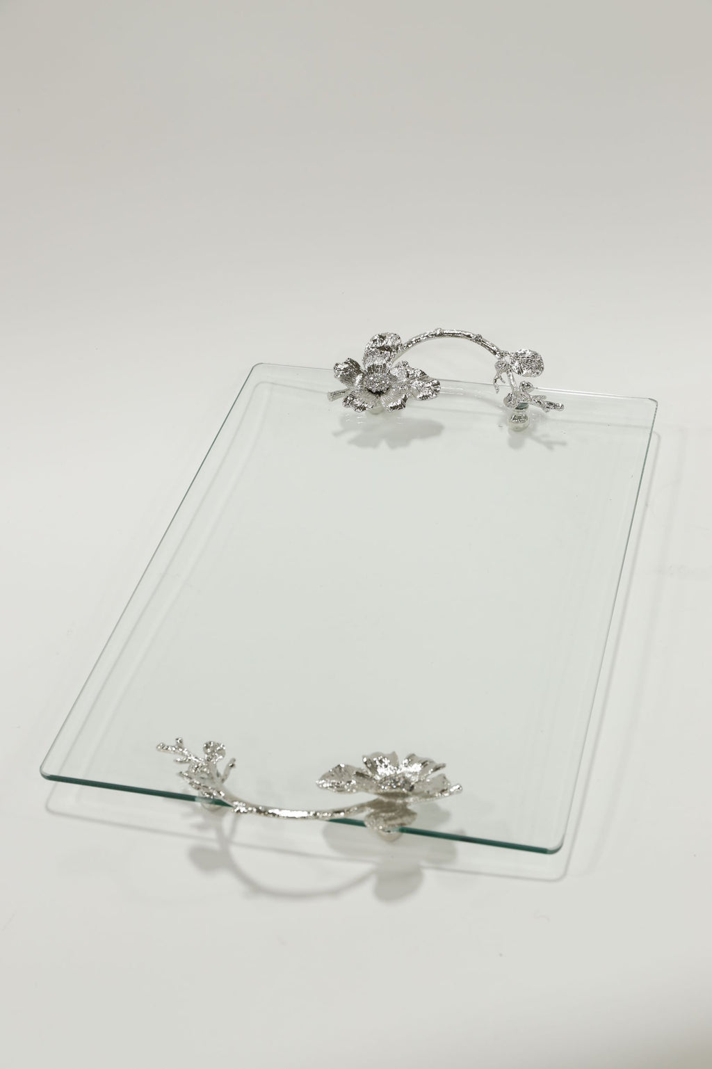 Silver Floral Crystal Handled Glass Tray-Inspire Me! Home Decor