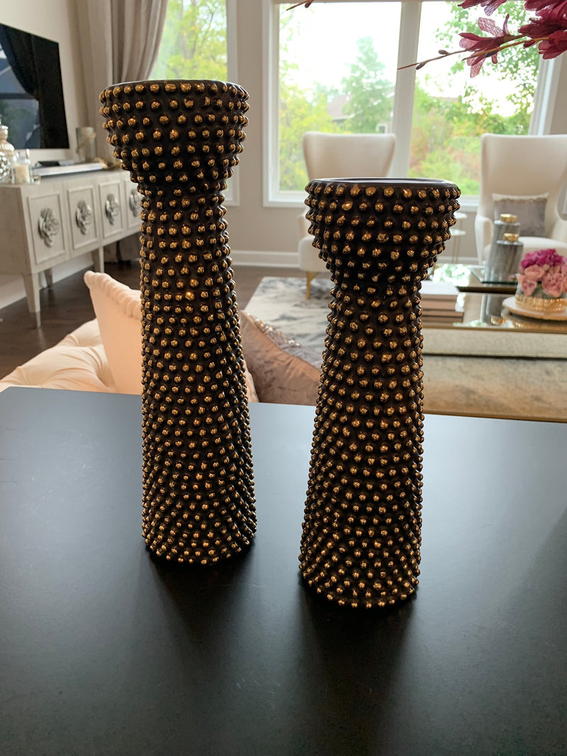 Black and Gold Ceramic Beaded Candle Holder Set Of Two
