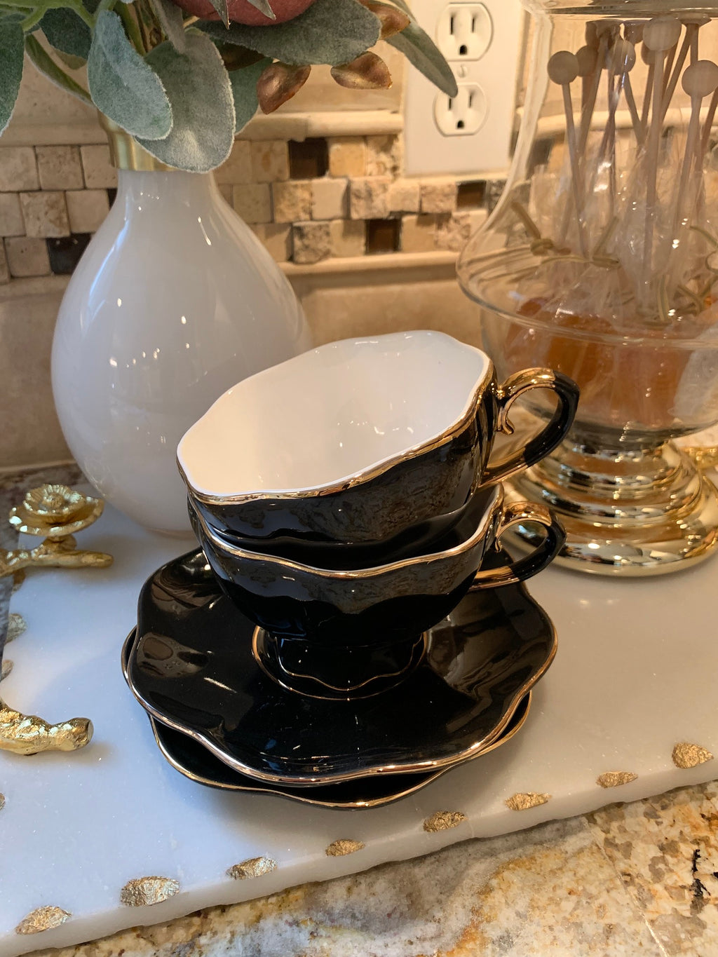 Black and Gold Scallop Coffee Cup with Saucer - (Set of 2)