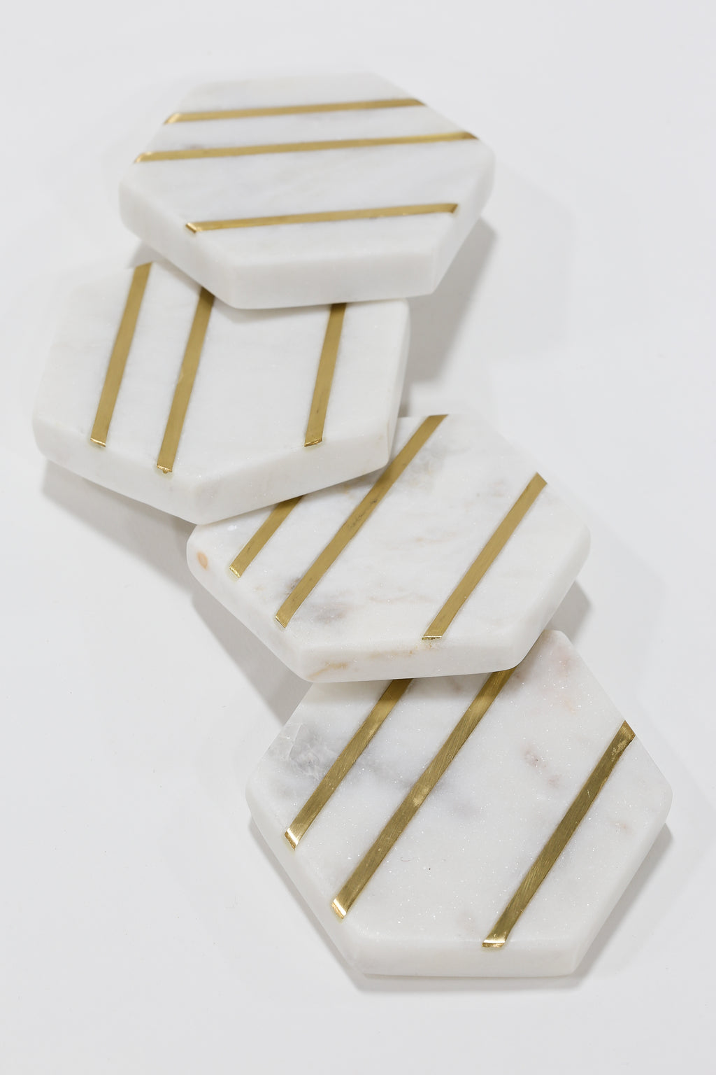 Marble Hexagon Coasters with Gold Inlay (Set of 4)-Inspire Me! Home Decor