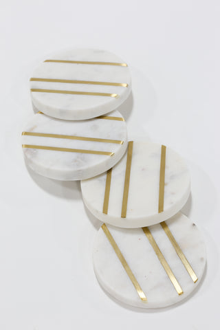 Marble Round Coasters with Gold Inlay (Set of 4)-Inspire Me! Home Decor