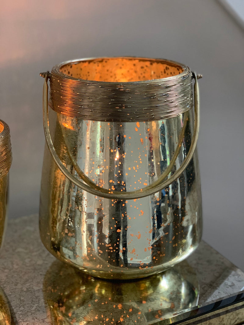 Large Distressed Gold Mercury Lantern