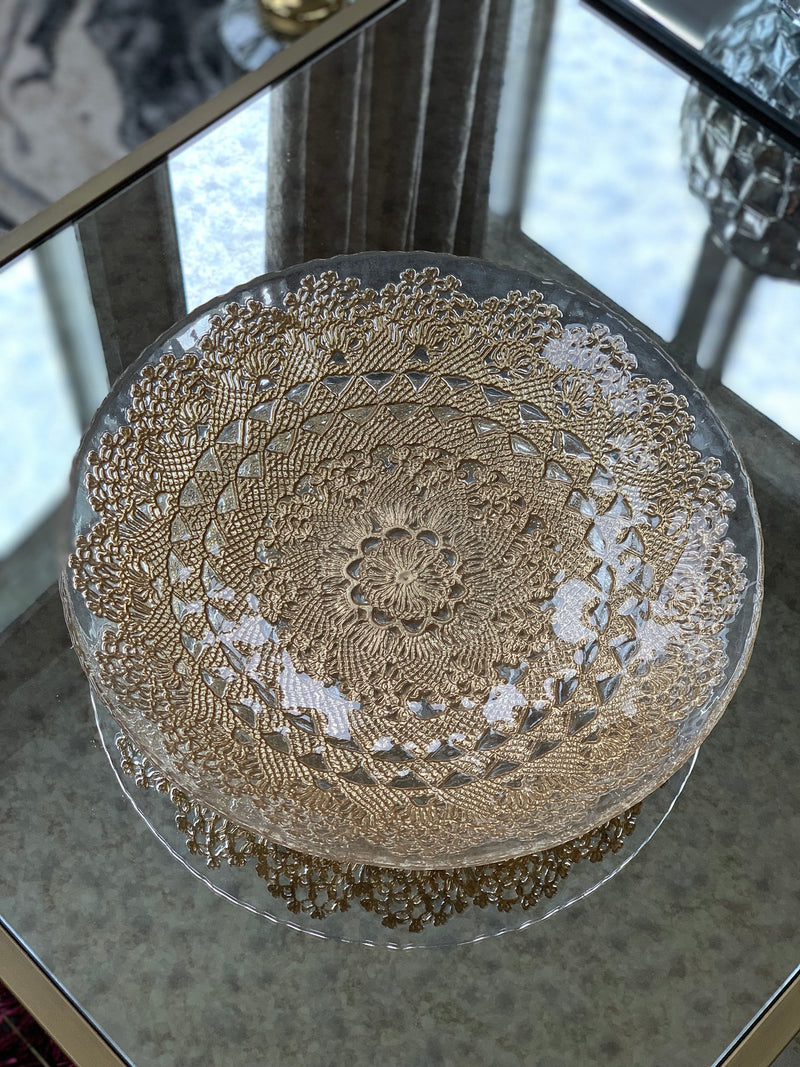 Gold Detailed Glass Bowl