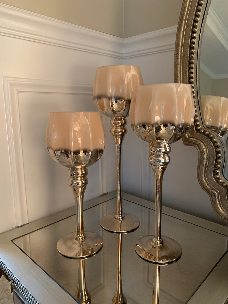 (Set Of 3) Ombre Candle Holders