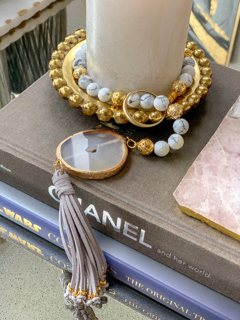 Marble & Gold Swag with Agate