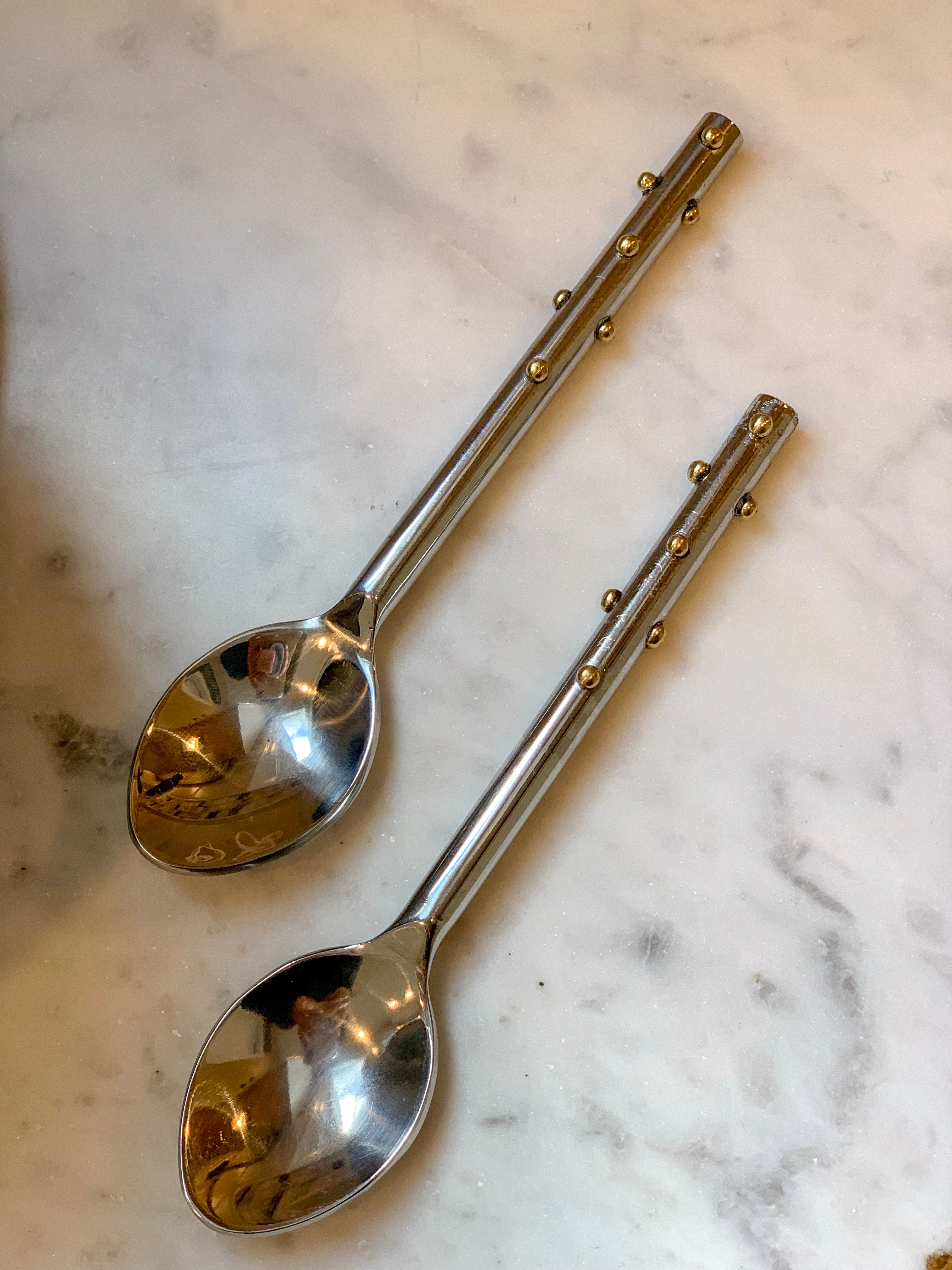 Stainless Steel Gold Dot Spoon Set of 4