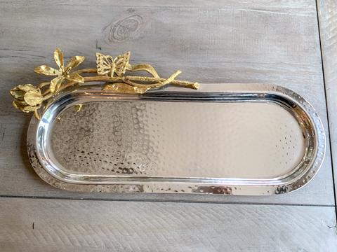 Imperfect Hammered Oval Tray with Flower