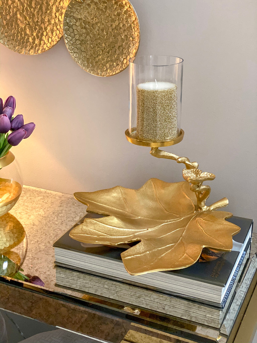 Gold Leaf Tray w/ Candle Holder