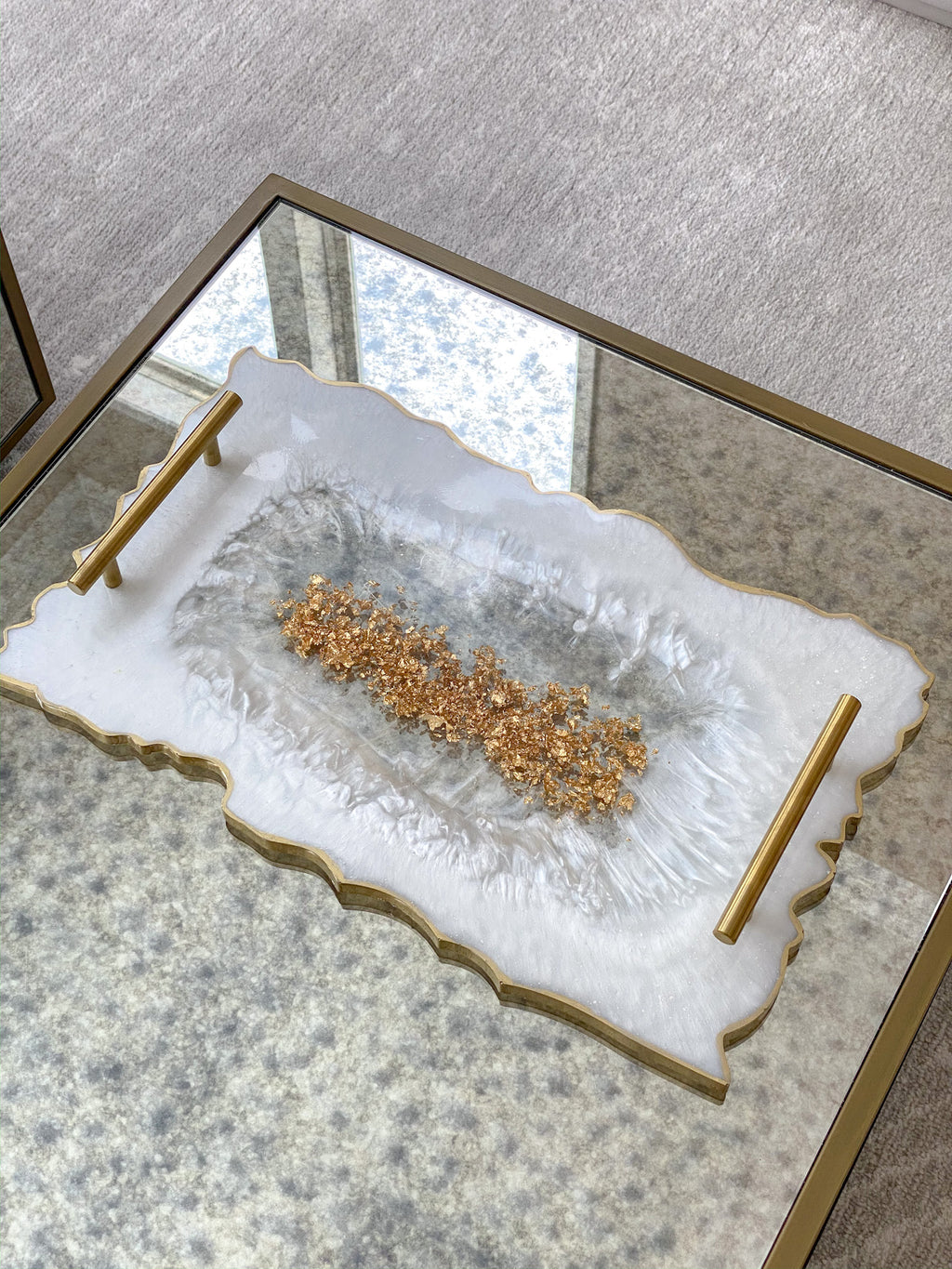 Gold Leaf and White Resin Tray-Inspire Me! Home Decor
