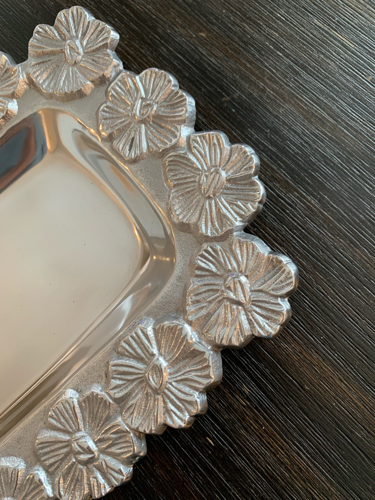 Silver Floral Tray