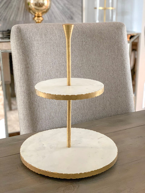 Two Tier Gold Marble Dessert Stand