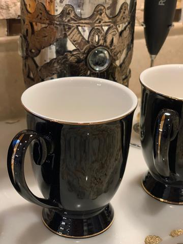 Imperfect Black Mug with Gold Accent
