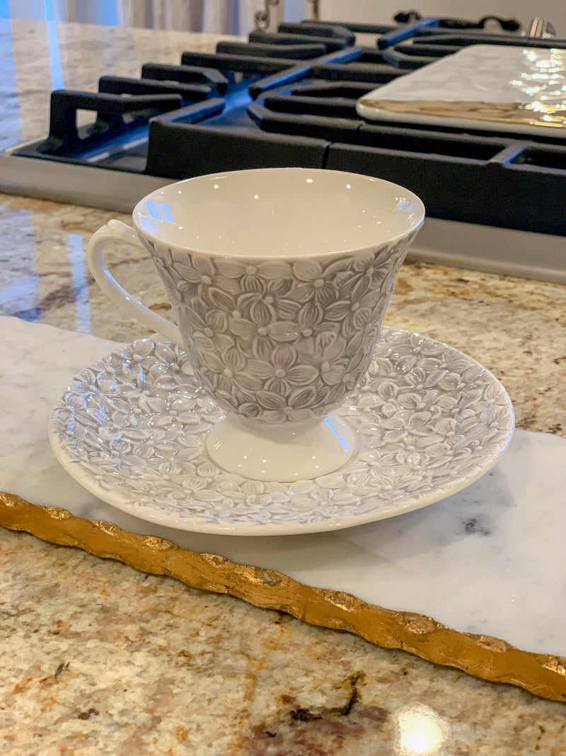 (Set of 2) Smoke Grey Lily Tea Cup & Saucer