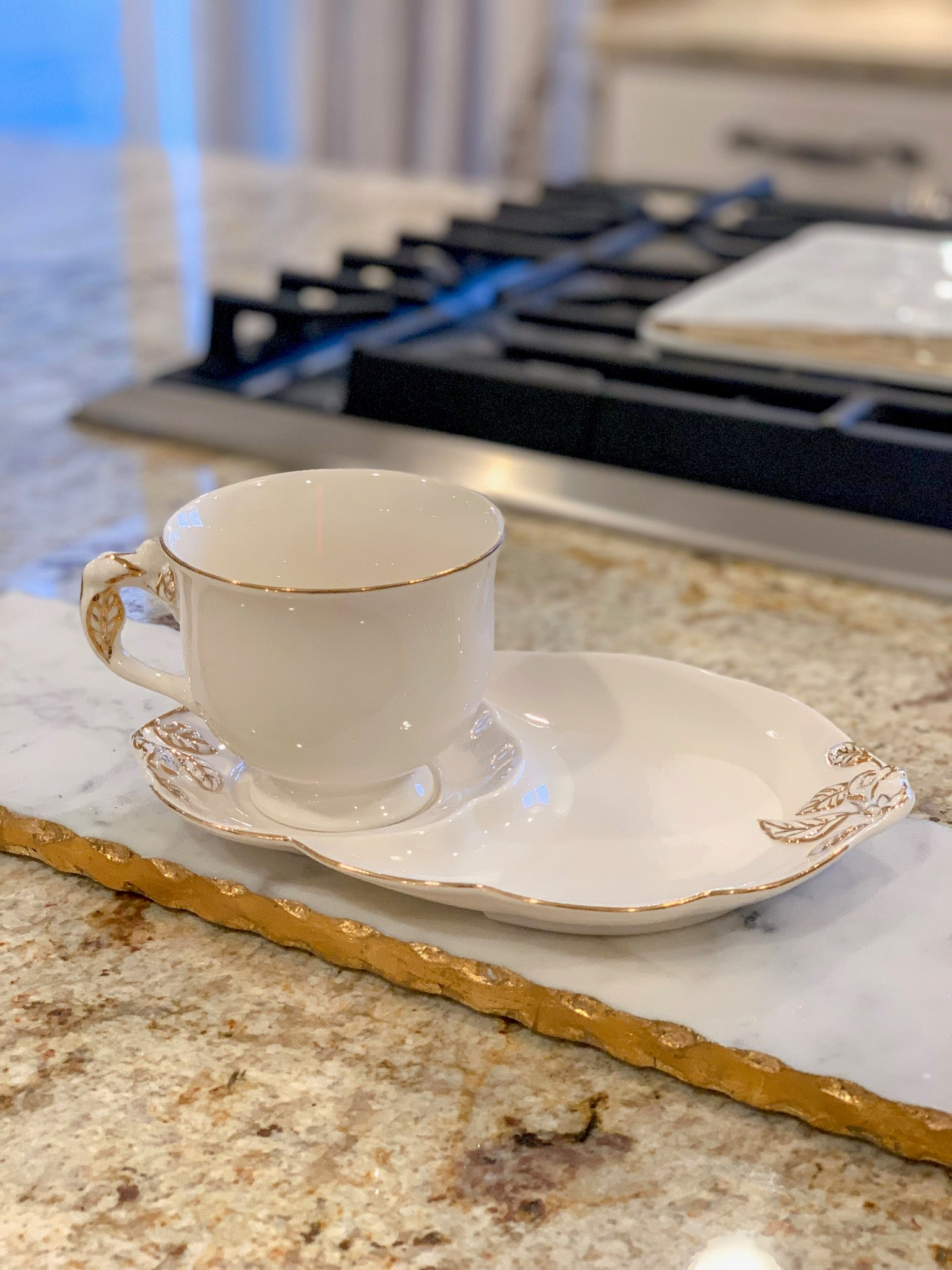 White Two Piece Coffee/Tea Set with Gold Accents
