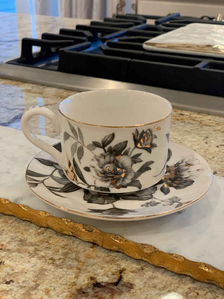 Black & Gold Peony Coffee Cup and Saucer