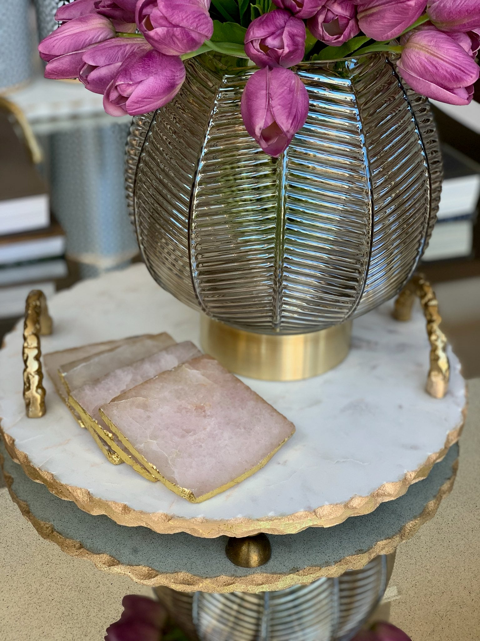 Gold Handle Marble Tray