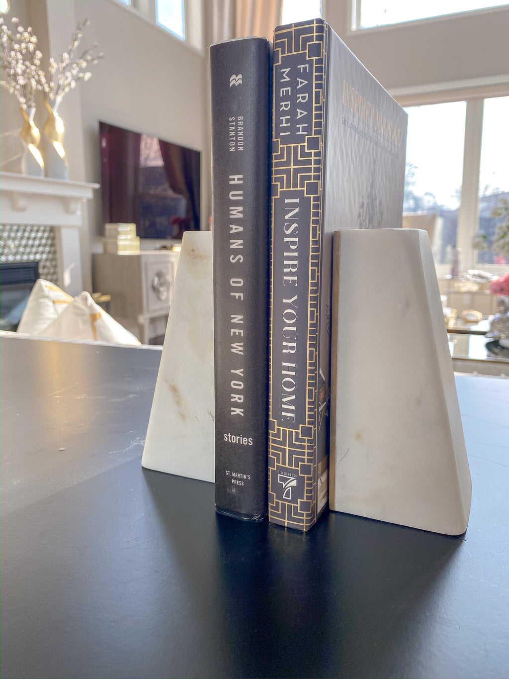 Marble Bookends-Inspire Me! Home Decor