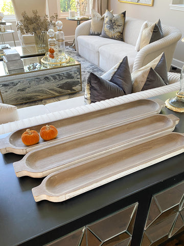 Long White Washed Natural Wood Trays (3 Sizes)-Inspire Me! Home Decor
