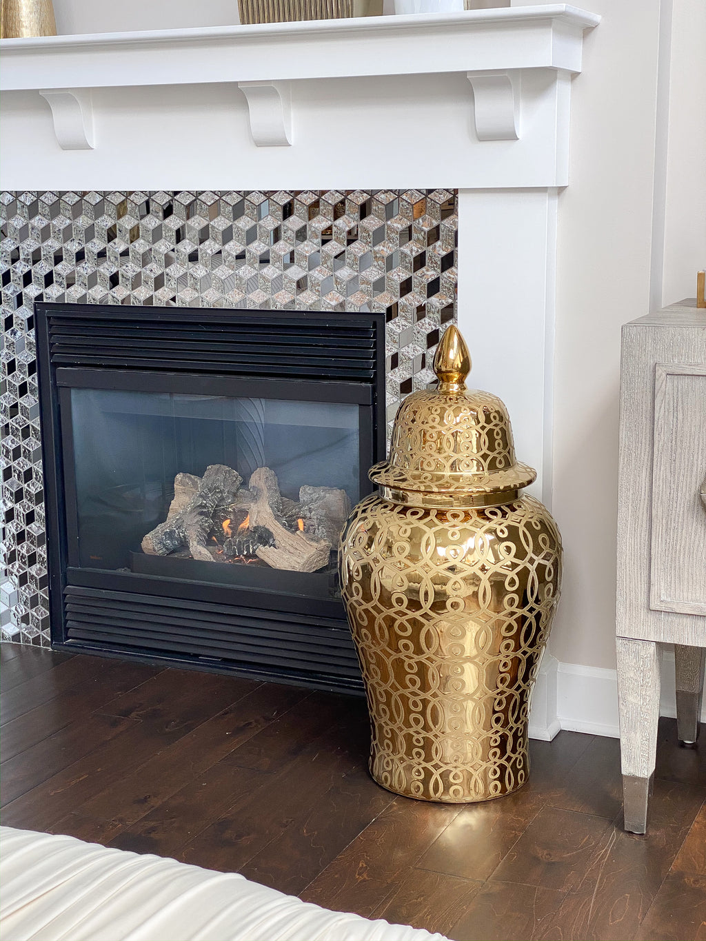 Extra Oversized Gold Ginger Pattern Ginger Jar-Inspire Me! Home Decor