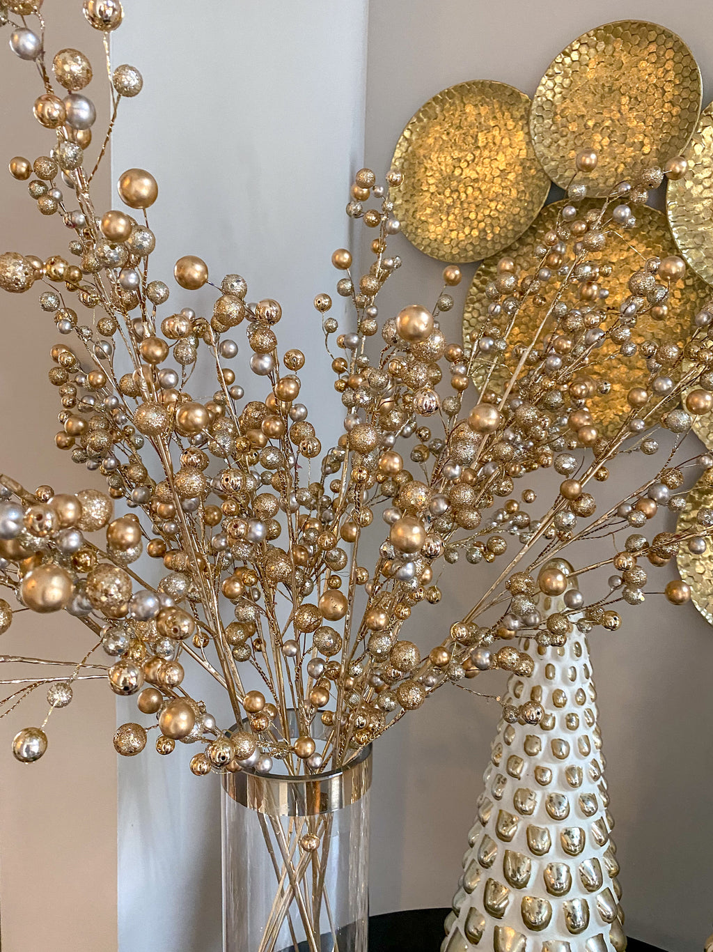 Gold and Silver Glitter Berry Stem-Inspire Me! Home Decor