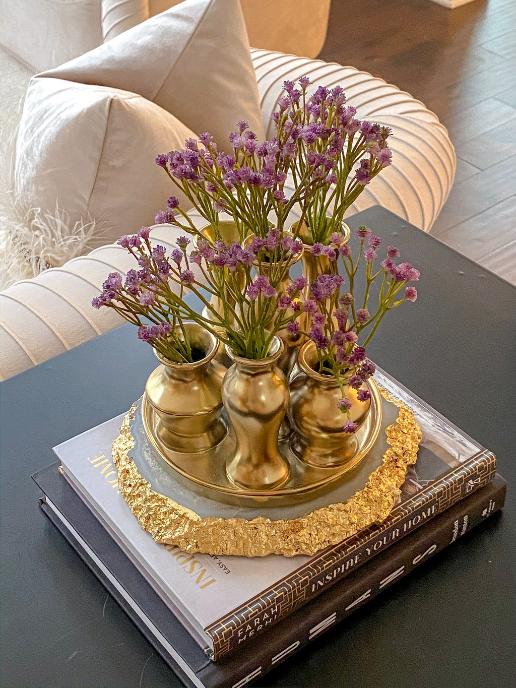 Round Base Gold Vase Display-Inspire Me! Home Decor
