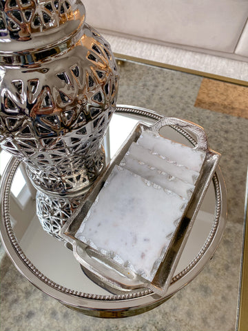 Marble Coasters w/ Silver Trim and Tray-Inspire Me! Home Decor