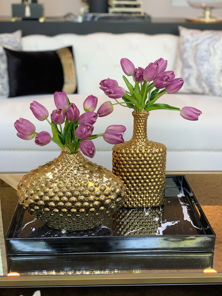 Bottle Studded Gold Vase