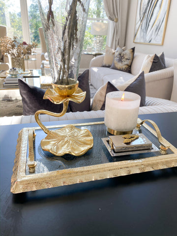 Glass Rectangle Tray with Gold Handles and Ruffled Edge-Inspire Me! Home Decor