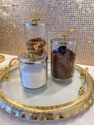 Hammered Glass Canister w/ Gold Bird Lid ( 3 Sizes available)-Inspire Me! Home Decor