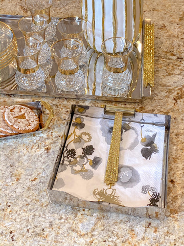 Silver Napkin Holder with Gold Mosaic Detail-Inspire Me! Home Decor