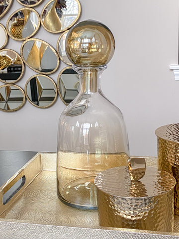 Gold Glass Vase w/ Large Sphere Stopper-Inspire Me! Home Decor